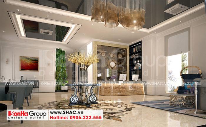Mẫu thiết kế nội thất sảnh lễ tân khách sạn tiêu chuẩn 3 sao sang trọng tại huyện Ba Vì – Hà Nội