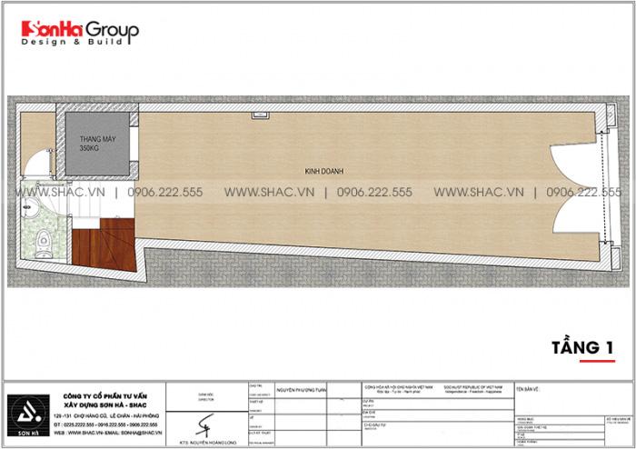 Bản vẽ chi tiết công năng tầng 1 nhà ống tân cổ điển mặt tiền 3,99m dài 14m tại Hải Phòng