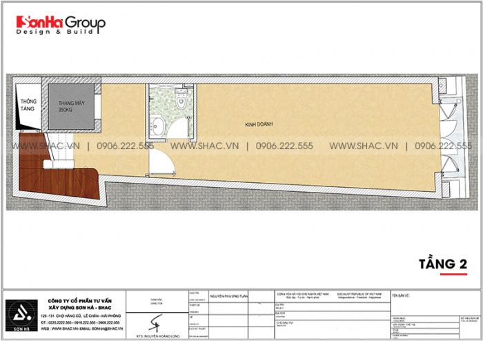 Bản vẽ chi tiết công năng tầng 2 nhà ống tân cổ điển mặt tiền 3,99m dài 14m tại Hải Phòng