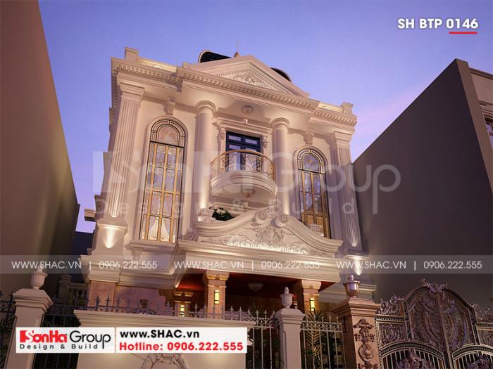 Kiến trúc ngoại thất giản dị nhưng rất có chiều sâu của ngôi biệt thự 2 tầng tân cổ điển đẹp mắt