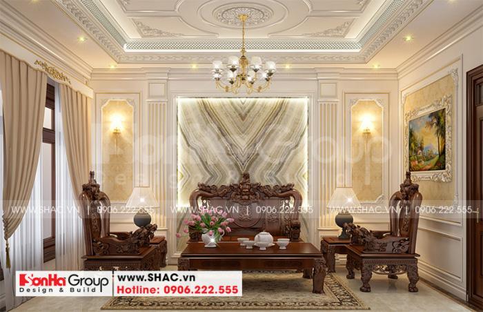 Ý tưởng thiết kế phòng khách nhà ống tân cổ điển tại Hà Nội với nội thất gỗ cao cấp màu sắc trang trọng, quý phái