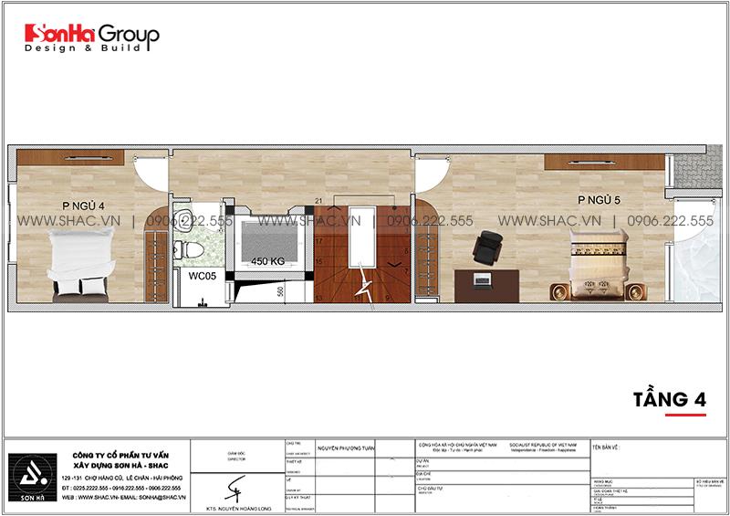 Thiết kế nhà phố hiện đại 5 tầng mặt tiền 4m1 có gara ôtô tại Hải Dương – SH NOD 0210 6