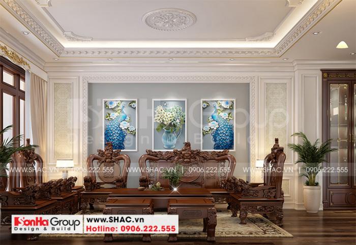 Ý tưởng thiết kế nội thất phòng sinh hoạt chung đẹp mang hơi hướng tân cổ điển tại tầng 3 ngôi nhà phố