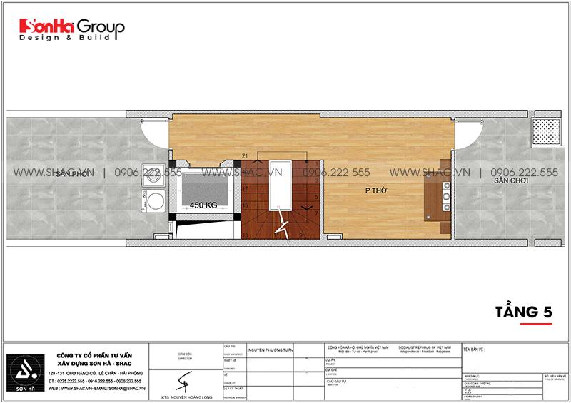 Thiết kế nhà phố hiện đại 5 tầng mặt tiền 4m1 có gara ôtô tại Hải Dương – SH NOD 0210 7