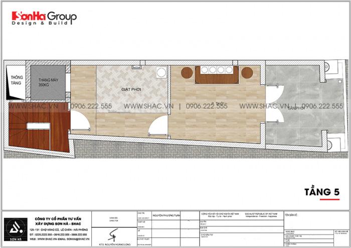 Bản vẽ chi tiết công năng tầng 5 nhà ống tân cổ điển mặt tiền 3,99m dài 14m tại Hải Phòng
