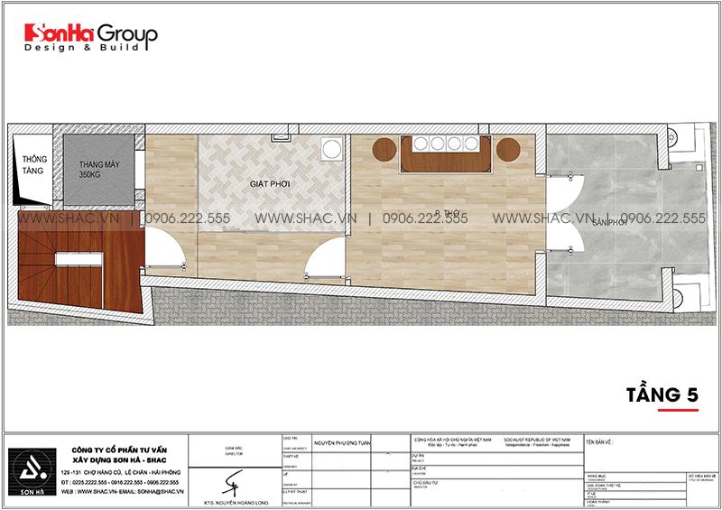 Mẫu thiết kế nhà ống tân cổ điển 5 tầng kết hợp kinh doanh tại Hải Phòng - SH NOP 0201 7