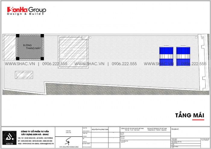 Bản vẽ chi tiết công năng tầng mái nhà ống tân cổ điển mặt tiền 3,99m dài 14m tại Hải Phòng
