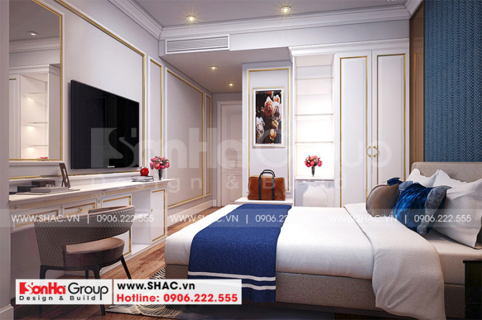 Không gian nội thất phòng ngủ khách sạn tiêu chuẩn 3 sao tại Hà Nội