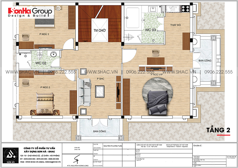 Biệt thự 3 tầng phong cách tân cổ điển mặt tiền 9m3 tại Hải Phòng - SH BTP 0146 8