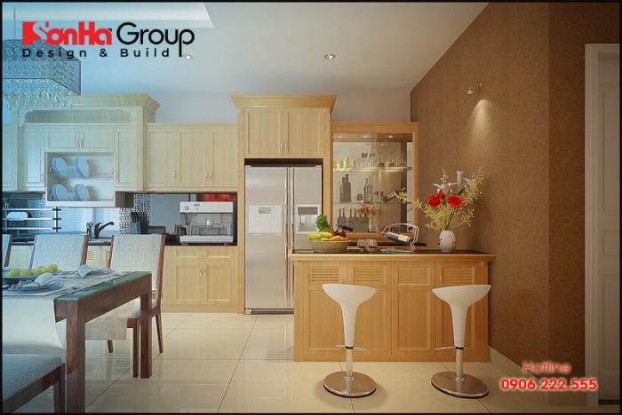 Cách bày trí vật dụng của KTS Sơn Hà dành cho mẫu thiết kế phòng bếp nhỏ đẹp, sinh động và rất ấm cúng