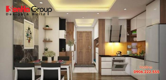 Căn hộ chung cư hiện đại được sử dụng giải pháp thiết kế bếp chung cư nhỏ đẹp xinh và ấm cúng nhất cho chủ nhân