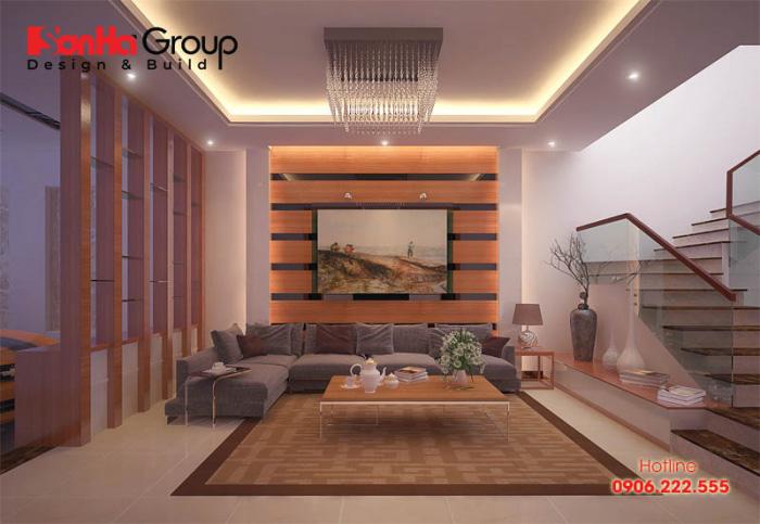 Căn phòng khách hiện đại dành cho nhà ống với phong cách trẻ trung, năng động