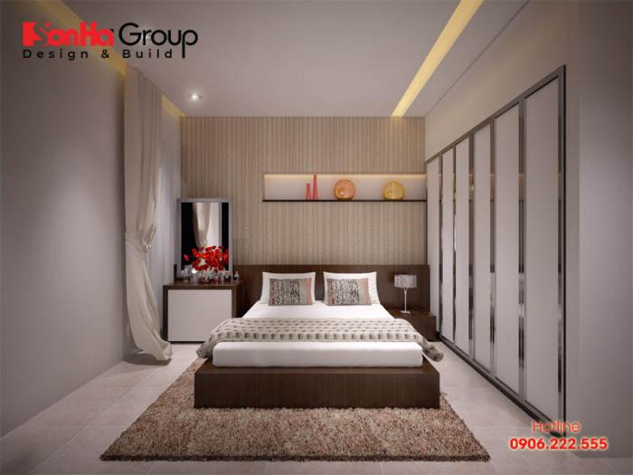 Cuộc sống tiện ích và hoàn hảo dành cho 2 người với mẫu phòng ngủ phong cách hiện đại hợp thời mà vợ chồng chủ nhân yêu thích nhất