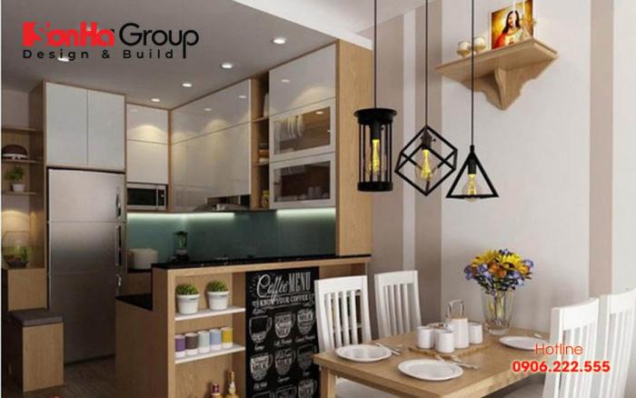 Hệ thống phòng ăn của chung cư có diện tích nhỏ được sắp xếp logic, khoa học, đúng ý chủ đầu tư mong đợi