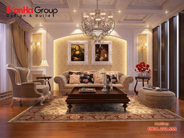 Khám phá ý tưởng trang trí nội thất phòng khách mang hơi hướng cổ điển với nội thất sang trọng thể hiện gu thẩm mỹ tinh tế của gia chủ