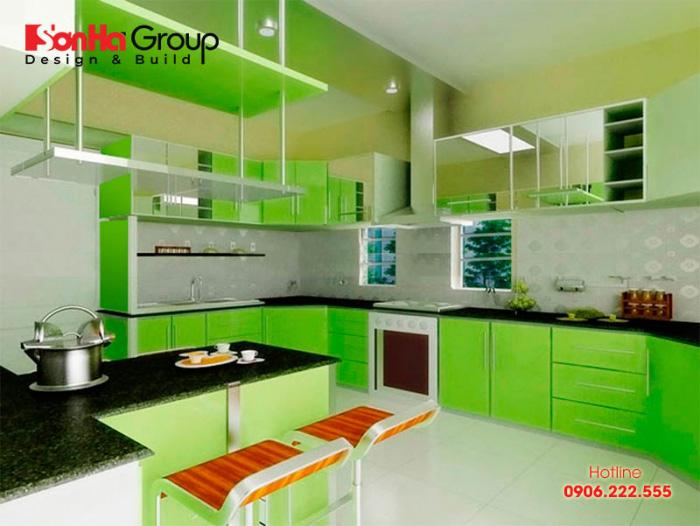 Không gian nội thất phòng bếp ăn đẹp, màu sắc phong thủy cho gia chủ mệnh Mộc