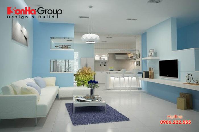 Không gian nội thất phòng khách màu xanh da trời chuẩn theo phong thủy cho gia chủ tuổi Giáp Thân