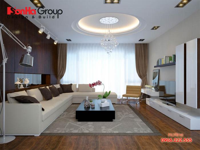 Không gian phòng khách cho nhà ống đẹp, tinh tế với ánh sáng chan hòa cho cả căn phòng