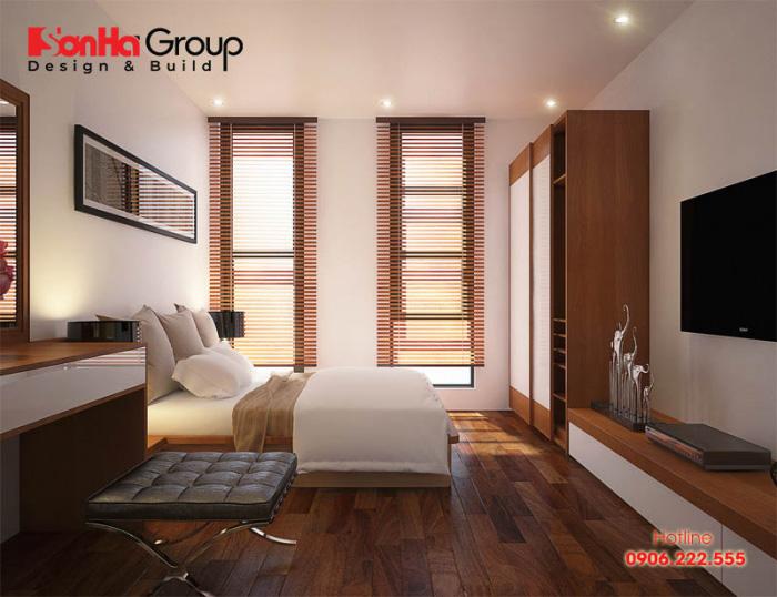 Không gian phòng ngủ hiện đại đẹp dành cho 2 người với vật dụng ngăn nắp, rất tiện nghi