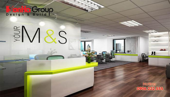 Không gian văn phòng làm việc rộng rãi, bày trí từng phòng ban rất chi tiết được chủ nhân hài lòng cao