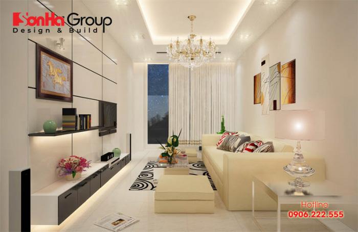 Kiểu dáng đơn giản, hợp phong thủy luôn được áp dụng trong mẫu thiết kế phòng khách đẹp cho nhà ống hiện nay của Sơn Hà