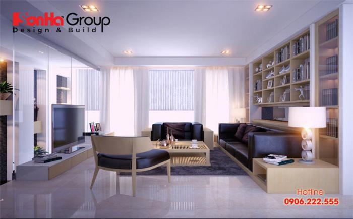 Mẫu bố trí nội thất phòng khách nhà ống đẹp, tiện nghi ở trung tâm ngôi nhà với không gian trang trọng, tinh tế