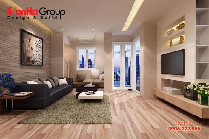 Màu nâu đất mang đến cho không gian phòng khách cảm giác thân thiện và ấm cúng