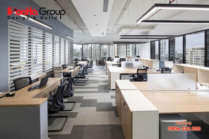 Mẫu nội thất văn phòng làm việc hiện đại đẹp và trang trọng dành cho nhân viên và quản lý