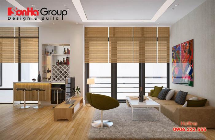 Mẫu phòng khách cho nhà ống hợp phong thủy vạn người quan tâm được hội tụ nhiều tiêu chí thiết kế cao cấp từ KTS Sơn Hà