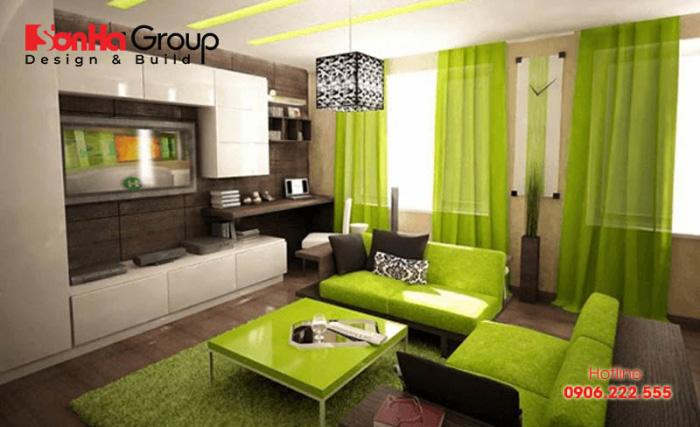 Màu sắc tốt nhất trong trang trí phòng khách cho gia chủ tuổi Bính Dần là màu xanh lá cây và màu vàng gỗ