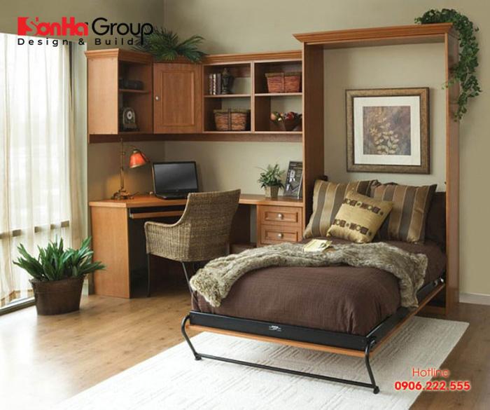 Mẫu thiết kế phòng ngủ kết hợp phòng làm việc mini tại nhà 4