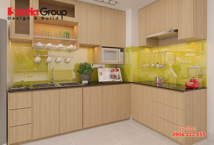 Mẫu tủ bếp gỗ công nghiệp đẹ, cao cấp cho không gian phòng bếp nhỏ xinh dù trang trí giản dị và tối giản