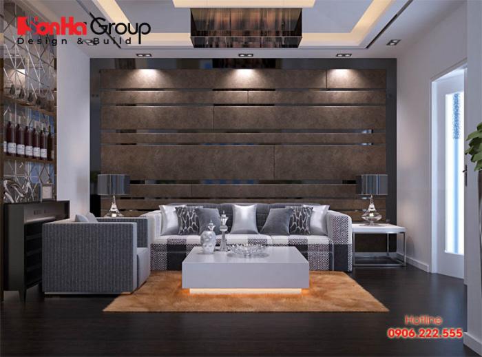 Một cách bố trí nội thất phòng khách nhà ống điển hình xu hướng mới