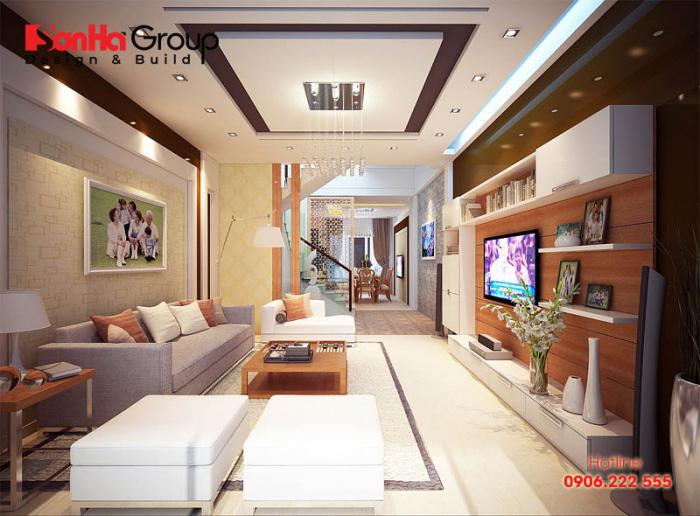 Nội thất phòng khách hiện đại đẹp và đơn giản với cách bày trí ngăn nắp, sáng tạo được chủ nhân vô cùng mãn nguyện