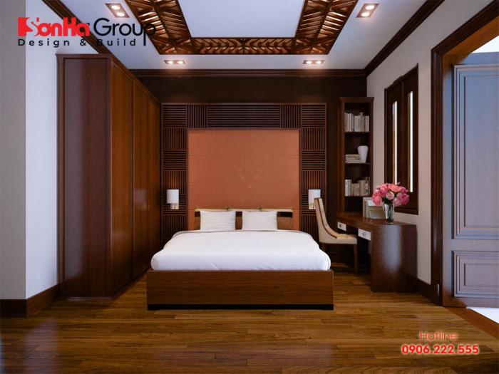 Nội thất phòng ngủ kiểu cổ điển vương giả với vật liệu gỗ tự nhiên có tone màu uy quyền