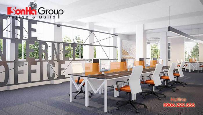 Nội thất văn phòng làm việc mang hơi hướng hiện đại, giản đơn vô cùng bắt mắt nhất