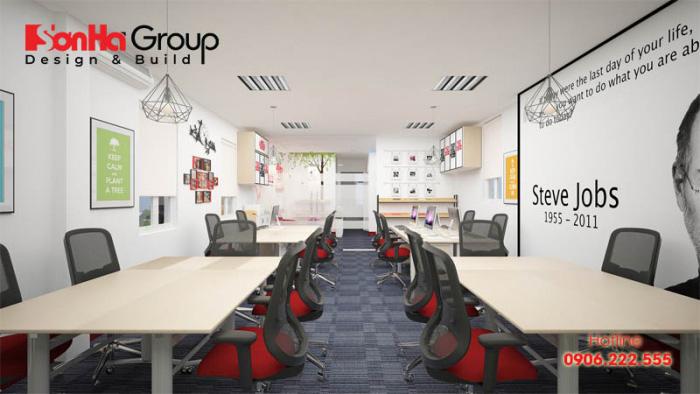 Ở mỗi không gian văn phòng làm việc luôn được chú trọng thiết kế nội thất với kiểu dáng gọn gàng, ánh sáng hợp lý đem lại nơi làm việc tuyệt hảo cho Nhân viên và các phòng ban khác