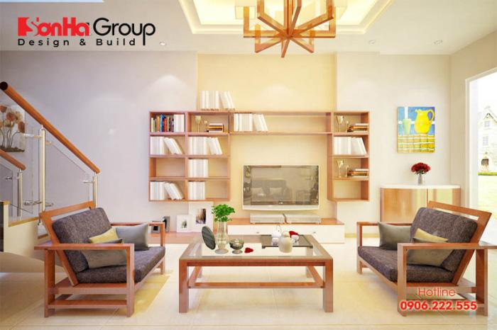 Phòng khách cho nhà ống hiện đại có diện tích khiêm tốn được ưu tiên sử dụng bàn ghế nhỏ gọn, phù hợp với tổng quan chung của ngôi nhà