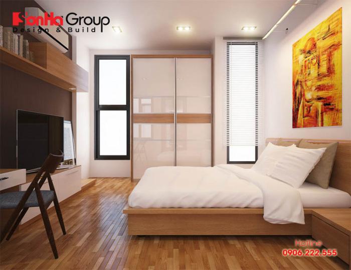 Phòng ngủ của nhà phố hiện đại tiện nghi và đẹp mắt với cách sắp xếp, bày trí ấm cúng