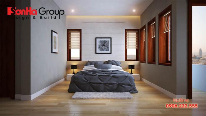 Phòng ngủ dành cho nhà ống đẹp, ấm cúng và sở hữu ban công thoáng đạt làm nên nơi nghỉ ngơi tuyệt hảo cho chủ nhân