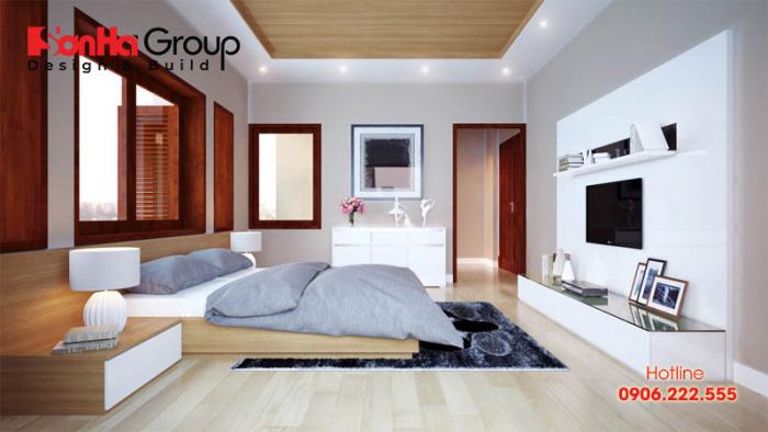 Phòng ngủ hiện đại đơn giản với vật dụng gọn gàng, màu sắc trang nhã hợp phong thủy nhất