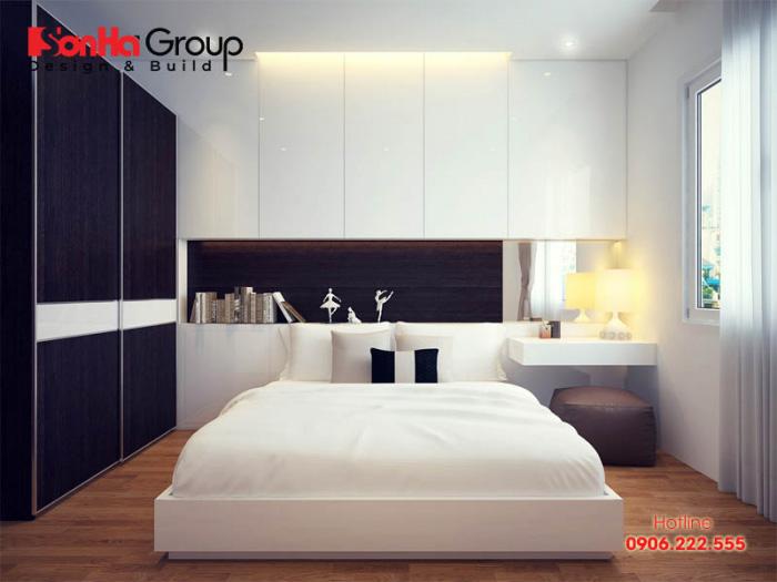 Phòng ngủ hiện đại với sắc màu trắng và ghi nhẹ nhàng sẽ làm nên cá tính của chủ nhân sinh hoạt vô cùng ngăn nắp