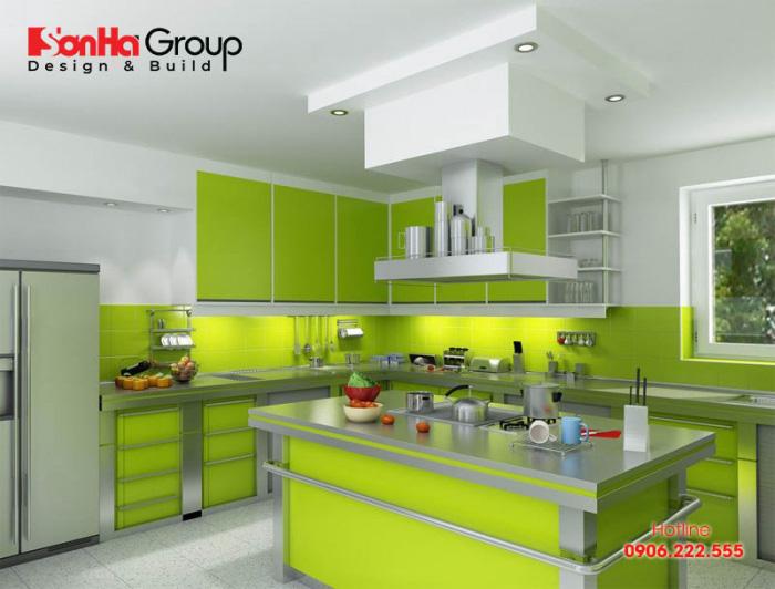 Thêm một phương án thiết kế bếp với gam màu xanh chủ đạo hợp phong thủy cho người mệnh Mộc