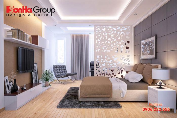Thiết kế nội thất phòng ngủ hiện đại đơn giản đẹp và trang nhã với sắc màu nhẹ nhàng, tươi mới