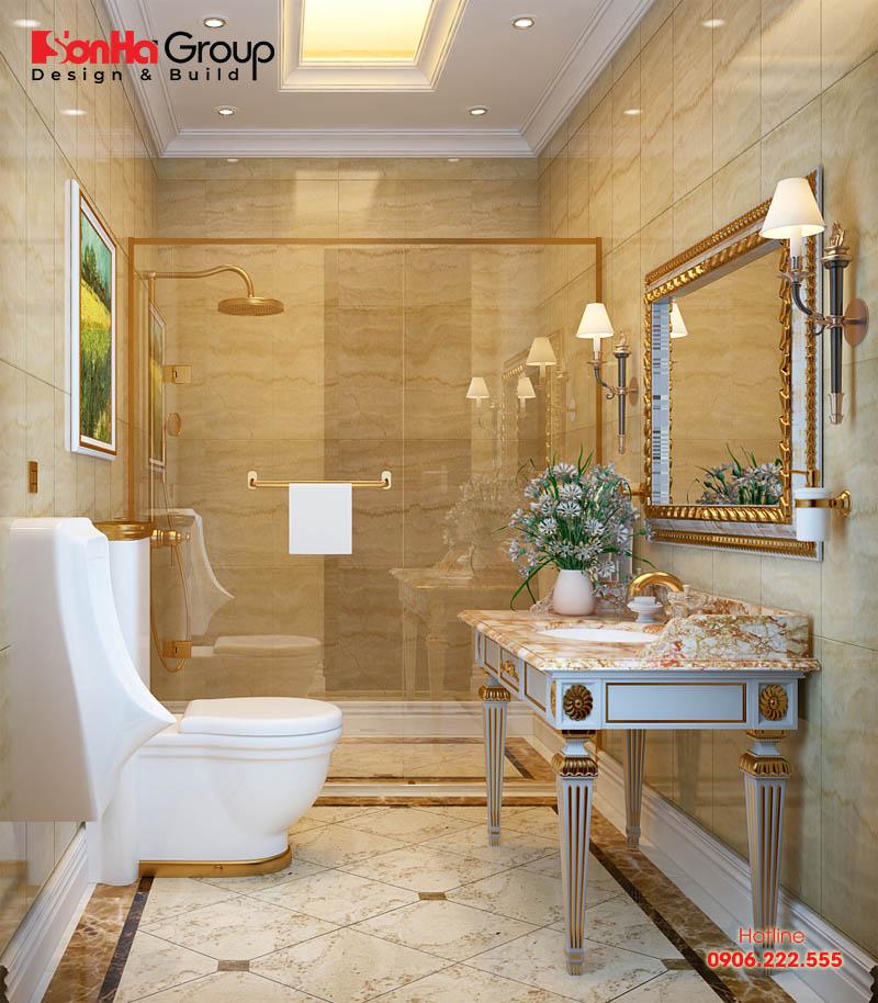 Thiết kế nội thất phòng vệ sinh kiểu cổ điển diện tích nhỏ mà đầy đủ tiện nghi