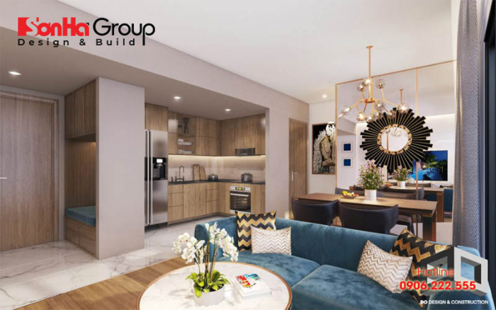 Thiết kế phòng khách và bếp chung kết nối đồng bộ được các không gian trong ngôi nhà
