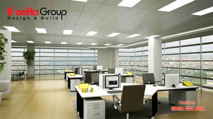 Thiết kế và bày trí nội thất phòng làm việc đẹp, tiện nghi và ngăn nắp, hợp phong thủy đúng ý chủ đầu tư đề ra