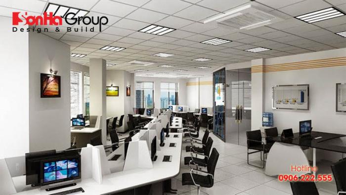 Văn phòng công ty được bố trí diện tích rộng rãi, phân bổ không gian làm việc thích hợp với từng nhân viên được đánh giá là rất ấn tượng, tiện nghi