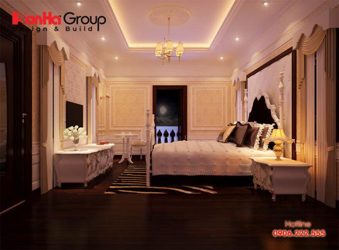 Vẻ đẹp nhẹ nhàng, thanh thoát của phòng ngủ tân cổ điển này gợi lên sự đầm ấm mà bất cứ Chủ đầu tư nào cũng hài lòng nhất có thể