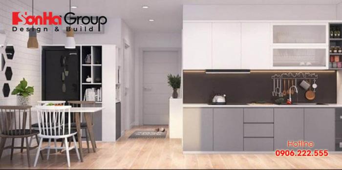Việc phân chia không gian nhà bếp hợp lý sẽ vừa giúp các khu vực khác có thêm không gian, vừa giúp tiết kiệm chi phí mua tủ kệ bếp